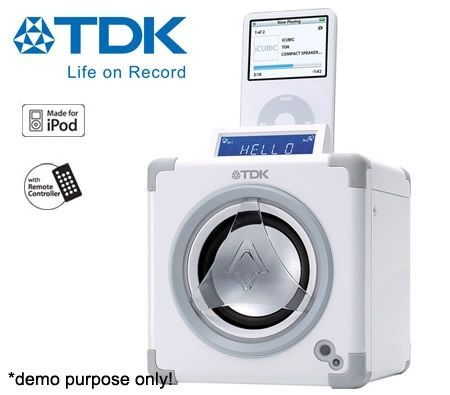 tdk icubic compact speaker system for ipod white crazy sales rh crazysales com au