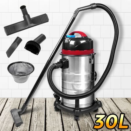 30L Stainless Steel Wet & Dry Bagless Vacuum Cleaner - 1400W