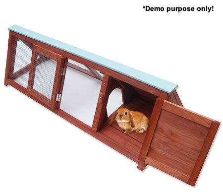 Large Triangular Wooden Rabbit / Guinea Pig Hutch House with Side Mesh Pen Play Area - Suitable for Indoor/Outdoor.