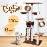 Cat Tree Gym  Platform 170cm - Brown & White 6 Levels