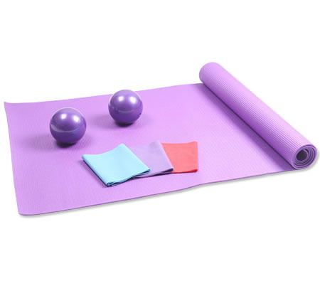 Yoga Pilates Exercise Equipment Set - Yoga Mat / Soft Weight Balls / Latex Resistance Bands