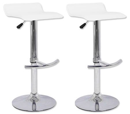2 X Pvc Leather Bar Stool Chair With Chrome T Shaped