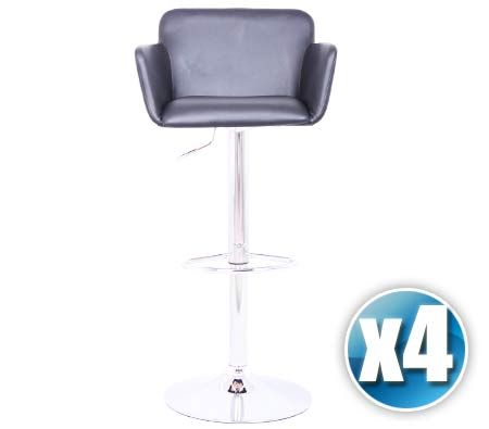 4 X Pu Leather Bar Stool Chair With Chrome Footrest And