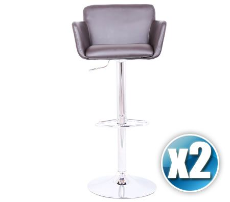 2 x PU Leather Mini Sofa Bar Stool Chair with Chrome Footrest and Adjustable Height - Brown