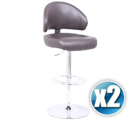 2 x PU Leather Padded Bar Stool Chair with Curved Backrest, Chrome Footrest and Adjustable Height - Brown