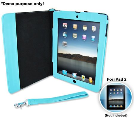 Classic Hard Leather Case for iPad 2 - Baby Blue