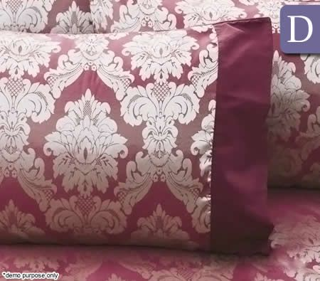 Accessorize Alexa Yarn Dyed Jacquard Satin Double Bed Pack 5 pcs Quilt Cover, Sheet Set & 2 x Pillowcase Set Bed Pack - Magenta