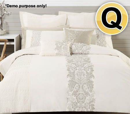 Designers Choice Embellished Embroidered Polyester Cotton Queen Bed Quilt Cover & 2 x Pillowcase Bed Set - Catherine