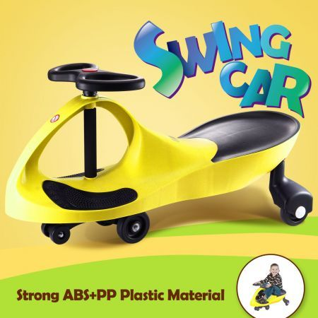 swing car slider kids fun ride on toy with foot mat yellow