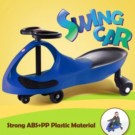Swing Car Slider Kids Fun Ride On Toy with Foot Mat- Blue