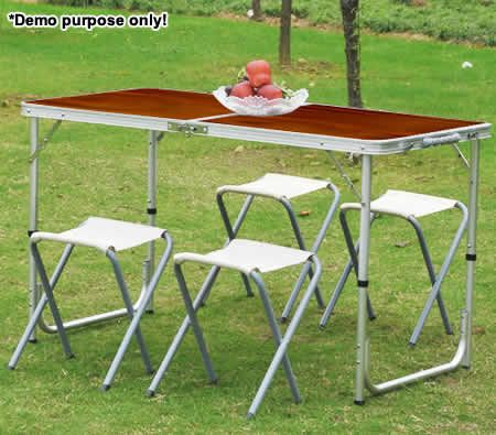 4 person aluminium foldable table four chairs set for for 10 person picnic table