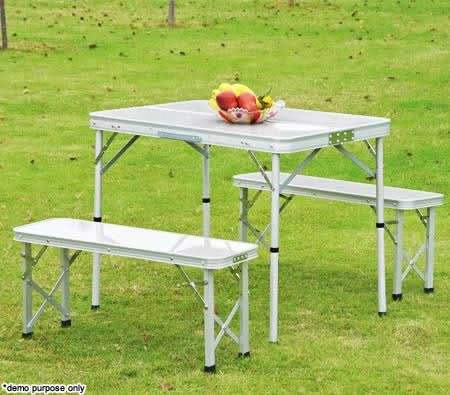 4 Person Aluminium Foldable Table Amp Two Bench Chair Set