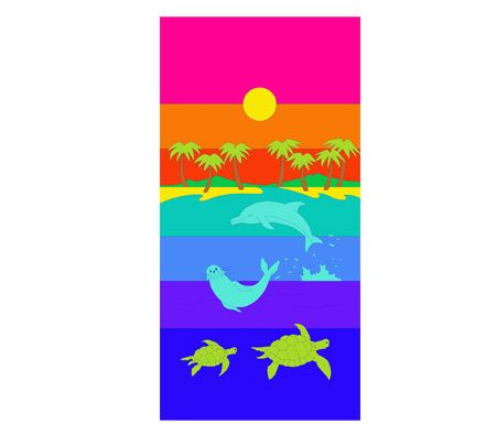 Summer Sea Design Beach Towel - 100% Cotton Velvet Reactive Printed - 75cm x 150cm
