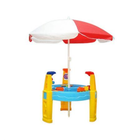 outdoor water sand children 39 s activity play transport table with accessories umbrella. Black Bedroom Furniture Sets. Home Design Ideas