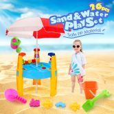 Outdoor Water & Sand Children's Activity Play Transport Table with Accessories & Umbrella