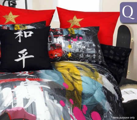 Printed Queen Quilt Cover & 2 x Pillowcase Set with 225 Thread Count - Polycotton - Chairman Mao Design