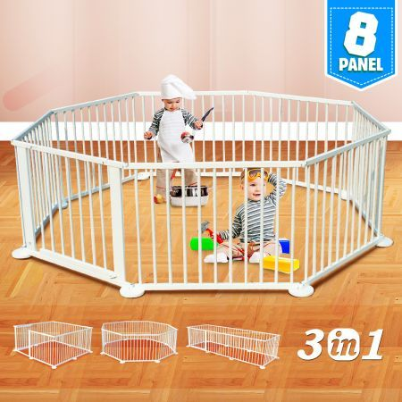 Kids Baby Toddler Deluxe Wooden Large 8 Panel Playpen Divider - White