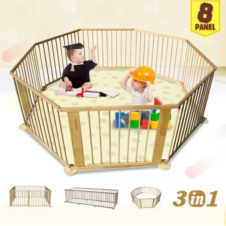 Kids Baby Toddler Deluxe Wooden Large 8 Panel Playpen