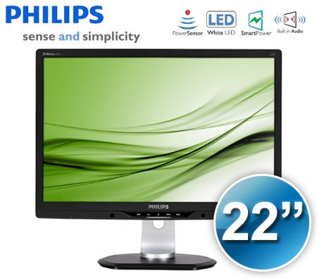 "Philips 22"" Brilliance Widescreen LED Monitor with PowerSensor - Black VGA/DVI-D, 4 x USB 2.0, 1680x1050, 5MS - 225PL2EB"