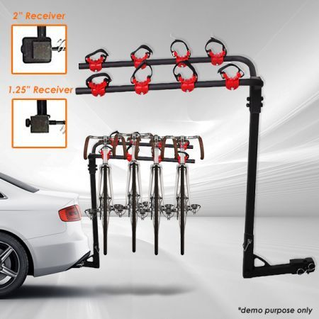 Bicycle Hitch Mount Rear Carrier/Rack for Car - Carries Four Bikes
