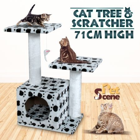 Cat Tree 71cm Gym  Play Center with Cube Burrow/Hanging Toy Mouse - 3 Levels - White with Black Paw Prints