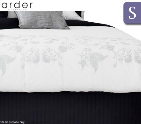 Ardor Boudoir Single Bed Quilted Valance - Black