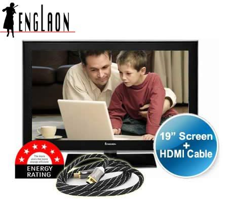 "Englaon 19"" HD LED TV with Built-In HD Turner and 1.2m HDMI Cable"