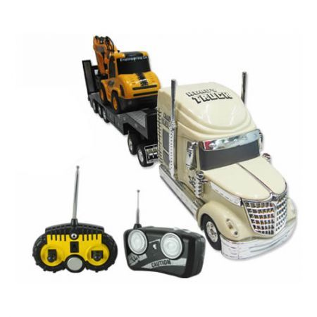 Remote Control Cream Coloured Heavy Truck and Remote Control Yellow Front Shovel Truck Set with Dual Joystick Steering - 1:32 Scale