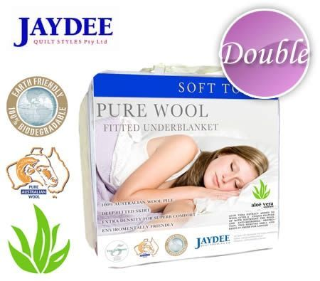 Jaydee Soft Touch Fitted Pure Wool UnderBlanket with Aloe Vera - Double
