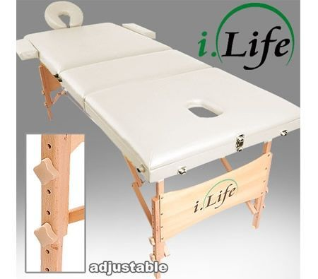 iLife Portable Massage Table Chair Bed 3-in-1 Foldable - White