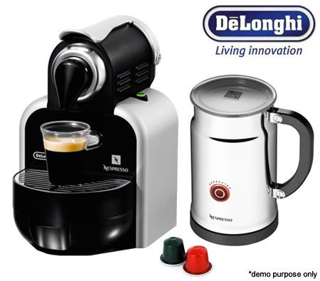 DeLonghi Nespresso Essenza Coffee Machine with Aeroccino Milk Frother + 16 Coffee Pods Crazy Sales