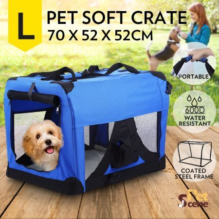 Portable Pet Soft Crate Carrier 70x52cm - Large, Waterproof, Blue