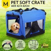 Portable Pet Soft Crate Carrier 60 x 42cm - Medium Size, Waterproof, Royal Blue