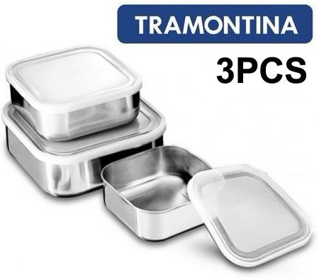 Tramontina 3 Piece Freezinox Stainless Steel Square Container Set with Lid