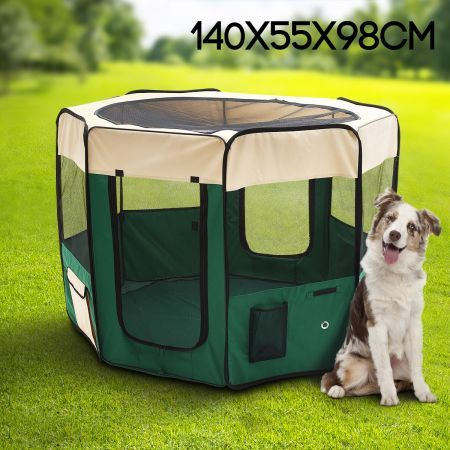 Large Sized Portable Pet Tent Playpen Dog/Cat Kennel 8 Panels - Green & Large Sized Portable Pet Tent Playpen Dog/Cat Kennel 8 Panels ...