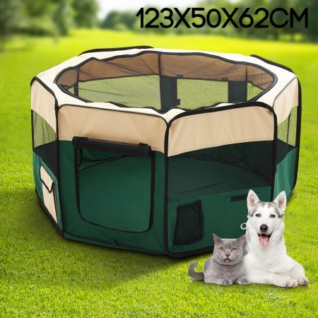 Small Sized Portable Pet Tent Playpen Dog/Cat Kennel 8 Panels - Green : animal tent - memphite.com