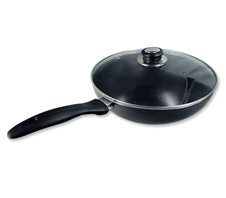 28cm Non Stick Stir Fry Pan Wok Pan With Glass Lid Cover