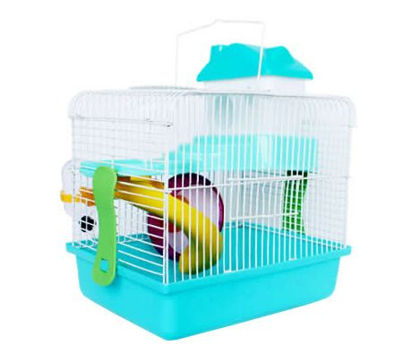 2 Level Small Pet Hamster/Mouse/Gerbil Cage - Green - 29cm(H)