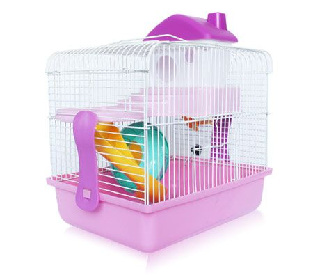 2 Level Small Pet Hamster/Mouse/Gerbil Cage - Pink - 29cm(H)