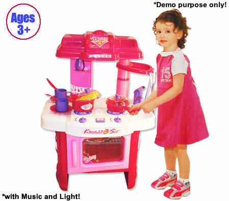 Children 39 s kitchen toy play set with music light crazy for Kitchen set video song
