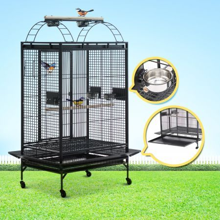 Lacework Bird Cage on Wheels for Medium to Large Size Parrots - Gray