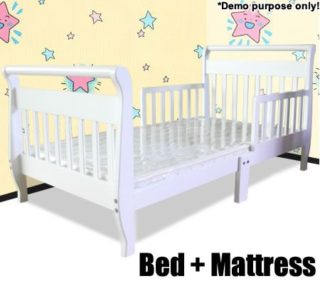 Sleigh Style Toddler Bed With Mattress