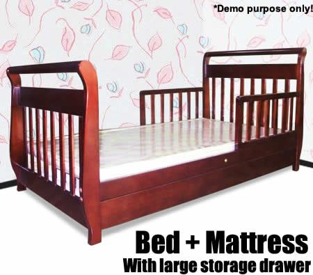 sleigh style toddler bed with mattress and storage drawers cherry crazy sales. Black Bedroom Furniture Sets. Home Design Ideas