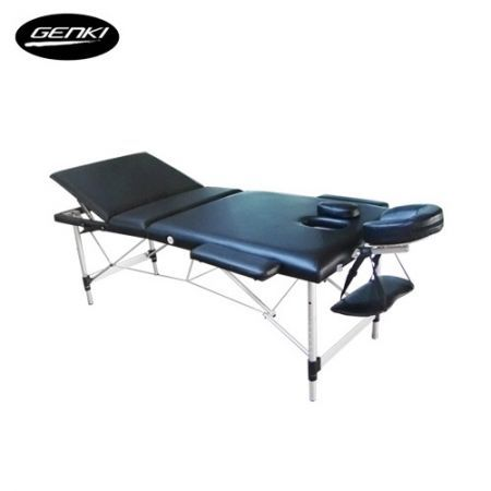 Genki Portable  Massage Table Bed - Foldable & Adjustable - Aluminium  - Black
