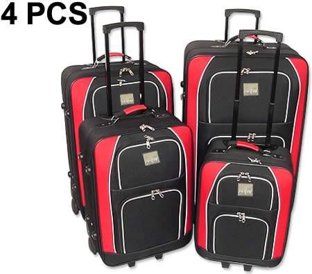 Travel Luggage Trekker 4 Piece Set with Trolley Handles-Red