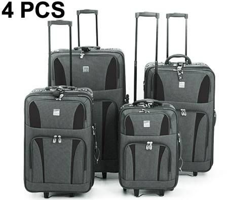Travel Luggage 4 Piece Set with Expandable Compartment Black