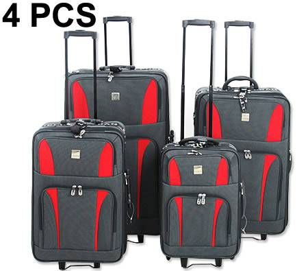 Travel Luggage 4 Piece Set with Expandable Compartment - Red