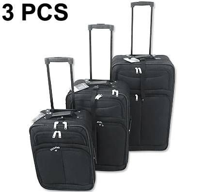 Luggage 3 Piece Travel Trolley Suitcase Set with Handles - Black