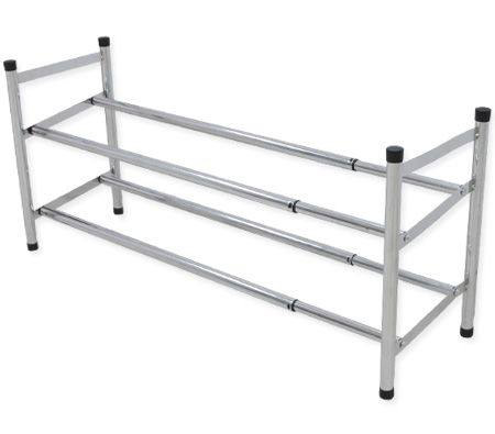 Shoe Rack - Expandable Two Tiers with Steel Chrome Finish