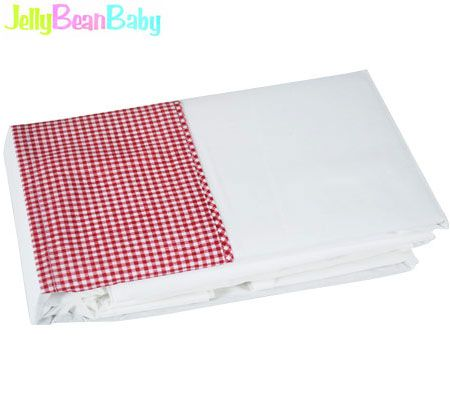 Cot Sheets Set with Gingham Cuff - Cotton Baby Bedding Sheets - Red